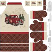 Vintage Christmas - Apron and Oven Mitt Digitally Printed Panel