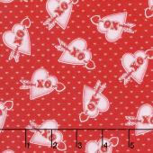 Love Struck - Hearts XO Red Yardage