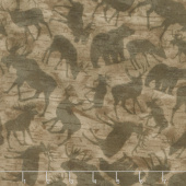 Woodland Haven - Animal Silhouette Brown Flannel Yardage