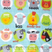 Funny Farm - Animal Faces Blue Yardage