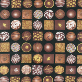 Chocolicious - Box of Chocolates Black Digitally Printed Yardage