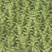Festive Forest - Packed Trees Green Yardage