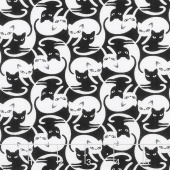 Cats - Intertwined Cats Black Yardage