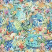 Calypso - Ocean Life Teal Digitally Printed Yardage