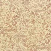 Oak Grove Lane - Journal Script Ivory Cranberry Yardage