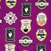 Eek Boo Shriek - Shriek Badge Purple Yardage