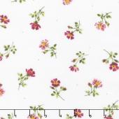 Wild Rose - Single Flowers Winter White Flannel Yardage