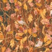 Autumn Air - Birds and the Breeze Redwood Metallic Yardage