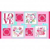 Love Letters - Valentine Blocks Red Pink Panel