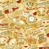 Novelty - Wine Words Tan Yardage