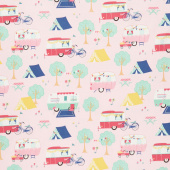 I'd Rather Be Glamping - Main Pink Yardage