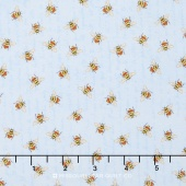 From the Garden - Bees Allover Blue Yardage