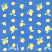 Just Lemons - Small Tossed Lemons Blue Yardage