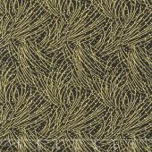 Festive Chickadee - Golden Pine Black Metallic Yardage