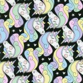 Animals - Geo Unicorn Black Yardage
