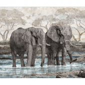 New Dawn - Elephant Blue Digitally Printed Panel