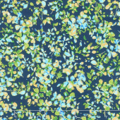 Watercolor Wishes - Petal Party Navy Turquoise Metallic Yardage