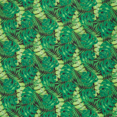 Tropical Flair - Leaf Toss Black Yardage