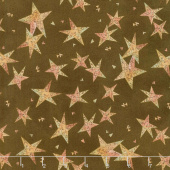 Irish Blessing - Swirly Stars Brown Yardage