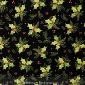 Songbird Christmas - Holly Black Yardage