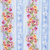 Blossom - Watercolor Flower Stripe Blue Digitally Printed Yardage