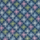 Sew Retro - Star Flower Navy Yardage