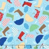 Novelty - Rainboots & Umbrellas Sky Yardage