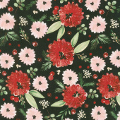 Winter Woods - Winter Floral in Black Yardage