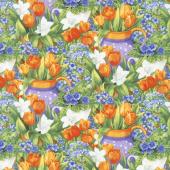 Garden Gathering - Flower Garden Green/Orange Yardage