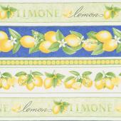 Just Lemons - Lemon Border Stripe Multi Yardage