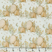 Tell the Bees - Bee Hives Grey Yardage