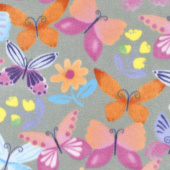 Winterfleece Prints Conversational - April Butterfly Grey Fleece Yardage