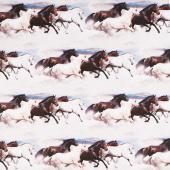 Maverick - Mustang Border Stripe Beige Digitally Printed Yardage