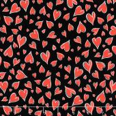 Novelty - Parisian Hearts Black Yardage