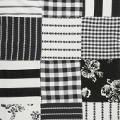 "Urban Cottage - Wovens Patchwork Blocks Black Ivory 54"" Wide Yardage"