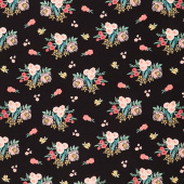 Flower Market - Main Black Yardage