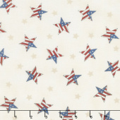 Land That I Love - Tossed Flag Stars Barnwood White Yardage
