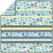 Minky Happy Elephants Blue Strip Quilt Kit