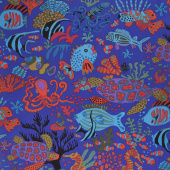 Kaffe Fassett Collective Spring 2018 - Dark Scuba Blue Yardage