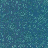 Wildflower Boutique - Line Work Medallion Navy Yardage