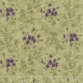 Sweet Violet - Violets & Ferns Leaf Yardage