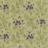 Sweet Violet - Violets & Ferns Leaf Yardage