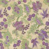 Aubergine - Elegant Paisley Antique Yardage