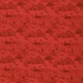 Holiday Heartland - Monotone Barns Red Yardage