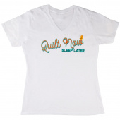 Quilt Now Sleep Later White V Neck T Shirt - Large