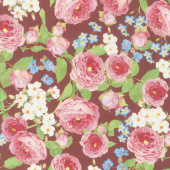 Farmhouse Rose - Flowers Red Yardage