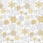 Stonehenge White Christmas - Snowflakes Neutral Gold Metallic Yardage