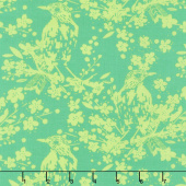 Painted Garden - Bird Songs Jade Yardage