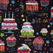 Nicole's Prints - Happy Birthday Black Yardage