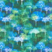 Urban Jungle - Trees Blue Yardage